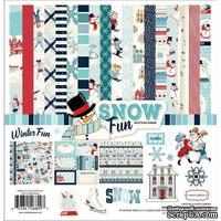 Набор двусторонней бумаги и наклейки Carta Bella - Snow Fun, размер 30х30 см