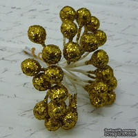 Ягодки HOLLY c глиттером, пластик,  цвет золото, 6 шт.