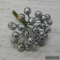 Ягодки HOLLY c глиттером, пластик,  цвет серебро, 6 шт.