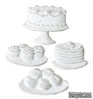 Гипсовые фигурки от Melissa Frances - Sweet Life -Торты и Печенья, 4 шт, 38x30мм