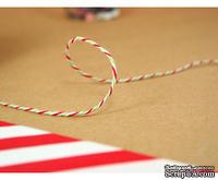 Хлопковый шнур от Divine Twine - Holiday, 1 мм, цвет зеленый/красный/белый, 1м