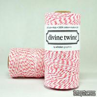 Хлопковый шнур от Divine Twine - Coral, 1 мм, цвет коралловый/белый, 1м