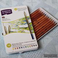 Набор акварельных карандашей - Academy - WaterСolour в металической коробке, 12 цветов