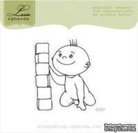 Акриловый штамп Lesia Zgharda D057 Мальчик с кубиками, размер 4,4х5,1 см.