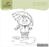 Акриловый штамп Lesia Zgharda D058 Девочка с зонтиком, размер 4,8х6,5 см.