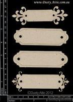 Чипборд от Dusty Attic - Name Plates №5, 4 шт.