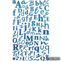 Наклейки - Alphabet Glitter Stickers - Turquoise, 170 шт