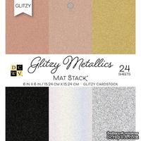 Набор кардстока DCWV Glitzy Metallics W/Glitter, 15х15 см, 24 листа, с глиттером