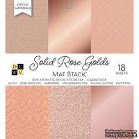 Набор кардстока DCWV Solid Rose Golds, 15х15 см, 18 листов, розовое золото, разные текстуры