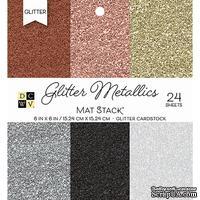 Набор кардстока DCWV Glitter Metallics Solid, 15х15 см, 24 листа, с глиттером