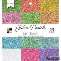 Набор кардстока DCWV Glitter Pastels Solid, 15х15 см, 24 листа, с глиттером