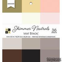 Набор кардстока DCWV Shimmer Neutrals Solid, 15х15 см, 36 листов, с блеском