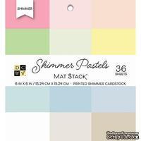 Набор кардстока DCWV Shimmer Pastels Solid, 15х15 см, 36 листов, с блеском