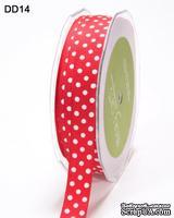 Лента GrosGrain/Dots, цвет красный/белый, ширина 1, 6 см, 90 см