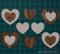 Деревянное украшение от Вензелик - Набор сердечек (шпон. 12шт), размер: