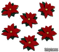 Набор декоративных пуговиц Dress It Up - Red Poinsettias