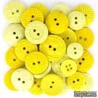 Набор декоративных пуговиц Dress It Up - Yellow, 50шт, размер от 1 до 1,8 см - ScrapUA.com
