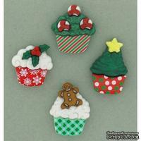 Набор декоративных пуговиц Dress It Up - Christmas Cupcakes