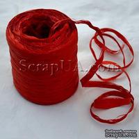 Рафия натуральная, цвет красный, 1 метр