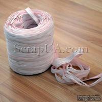Рафия натуральная, цвет розовый с белым, 1 метр