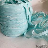 Рафия натуральная, цвет бело-голубой, 1 метр