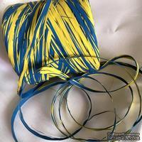 Рафия натуральная, цвет желто-голубой , 1 метр