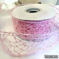 Лента-сетка с жестким кантом, цвет розовый, шир. 5 м, длина 90 см