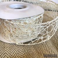Лента-сетка с жестким кантом, цвет ванильный, шир. 5 м, длина 90 см
