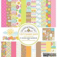 Набор кардстока от Doodlebug Cardstock - hello sunshine, двусторонний, 30,5 x 30,5 см