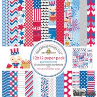 Набор кардстока от Doodlebug Cardstock - patriotic picnic, двусторонний, 30,5 x 30,5 см