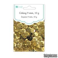 Пайетки круглые 9 мм, 10 г, цвет золотой, TM dpCraft (Dalprint)