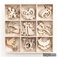 Набор деревянных украшений dpCraft (Dalprint) - Wedding, 45 шт.