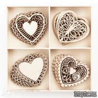 Набор деревянных украшений dpCraft (Dalprint) - Hearts, 20 шт.