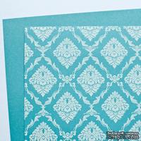 Лист плотной дизайнерской бумаги с рисунком Роскошно, цвет Лазурь, А4