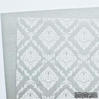 Лист дизайнерской бумаги с рисунком Роскошно 3, цвет Серебро 2, А4
