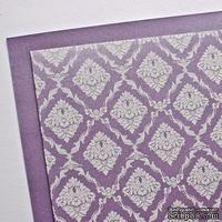 Лист дизайнерского картона с рисунком Роскошно 3, цвет Лаванда, А4, 250 г/м2