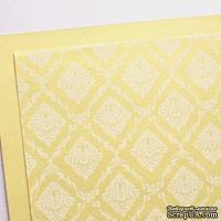 Лист дизайнерского картона с рисунком Роскошно 3, цвет Шампань, А4, 250 г/м2