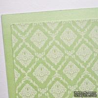 Лист дизайнерского картона с рисунком Роскошно 3, цвет Мята, А4, 250 г/м2