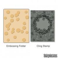 Папка для тиснения и резиновый штамп от Sizzix - Тextured Impressions Embossing Folder w/Stamp - Floral Wreath Set