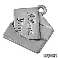 """Металлическое украшение """"Письмо"""", античное серебро, размер 18,5х16,5 мм, 1 шт - ScrapUA.com"""