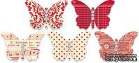 Бабочки из плотного кардстока с рисунком Jenni Bowlin Embellished Butterflies - Red, 5 штук, цвет красный