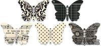 Бабочки из плотного кардстока с рисунком Jenni Bowlin Embellished Butterflies - Black, 5 штук, цвет черный