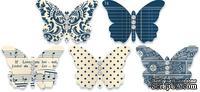 Бабочки из плотного кардстока с рисунком Jenni Bowlin Embellished Butterflies - Navy, 5 штук, цвет темно-синий