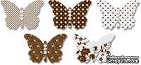 Бабочки из веллума с рисунком Jenni Bowlin Vellum Embellished Butterflies - Brown, 5 штук, цвет коричневый
