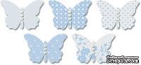 Бабочки из веллума с рисунком Jenni Bowlin Vellum Embellished Butterflies - Blue, 5 штук, цвет голубой