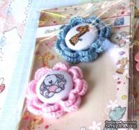 Тканевые фишки с обвязаным цветочком от Евгения Курдибановская ТМ - Baby Shower, 2 шт.