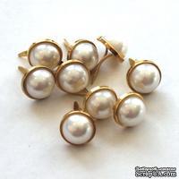 Набор брадсов Eyelet Outlet - Pearl Brads, цвет белый жемчужный, в золотистой оправе, 12 мм, 10 штук