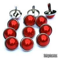 Набор брадсов Eyelet Outlet - Pearl Brads Red/Silver, цвет красный, в серебристой оправе, 12 мм, 10 штук