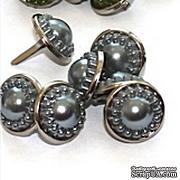 Набор брадсов Eyelet Outlet - Pearl Brads Smokey/Silver, цвет серый, в серебристой оправе, 14 мм, 10 штук