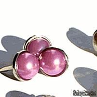 Набор брадсов Eyelet Outlet - Pearl Brads Silver Edge Puprle, цвет розово-фиолетовый, в серебристой оправе, 12 мм, 10 штук